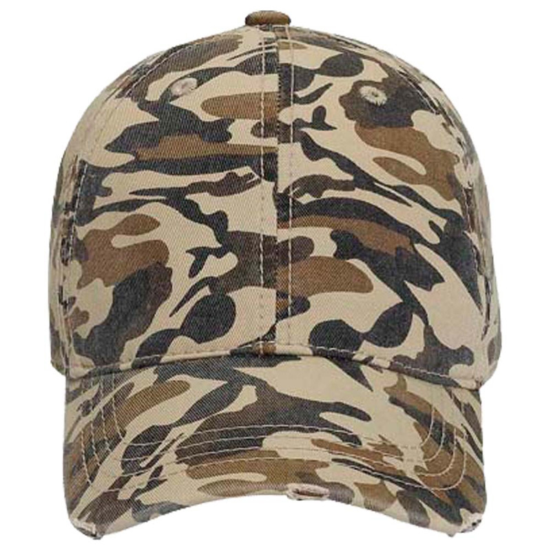 Otto Youth Camouflage Superior Garment Washed Cotton Twill Distressed Visor Low Profile Style Caps