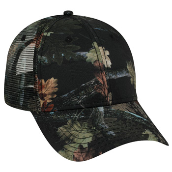 OTTO Camouflage Superior Polyester Twill Six Panel Low Profile Mesh Back Trucker Hat
