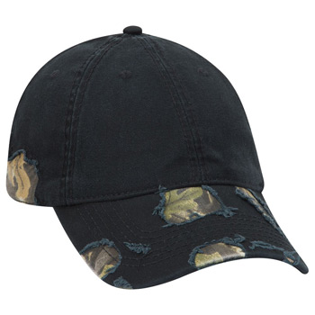 Otto Camouflage Distressed Superior Garment Washed Cotton Twill Low Profile Style Caps