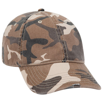 OTTO Camouflage Garment Washed Superior Cotton twill Distressed Visor Six Panel Low Profile Baseball Cap