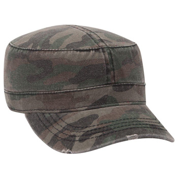 5194d93b667 Otto Camouflage Superior Garment Washed Cotton Twill Distressed Visor  Military Style Caps