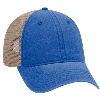 OTTO 6 Panel Garment Washed Pigment Dyed Superior Cotton Twill w/ Soft Polyester Mesh Back Low Profile Cap