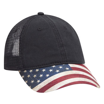 OTTO American Flag Visor Garment Washed Superior Soft Mesh Back Cotton Twill Baseball Cap