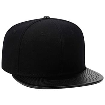 Otto Wool Blend Leather Flat Visor Pro Style Snapback Caps