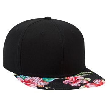 Otto Superior Cotton Twill With Hawaiian Pattern Square Flat Visor Pro Style Snapback Caps