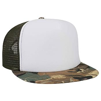 Otto Polyester Foam Front Camouflage Flat Visor High Crown Golf Style Mesh Back Caps