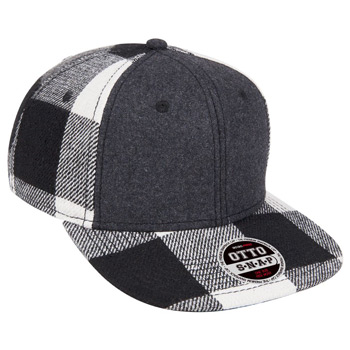 "OTTO Melton Wool Blend Flannel Square Flat Visor OTTO SNAP"" Six Panel Pro Style Snapback Hat"""