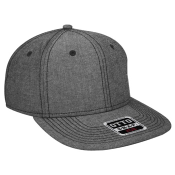 "OTTO Cotton Blend Chambray Square Flat Visor OTTO SNAP"" Six Panel Pro Style Snapback Hat"""