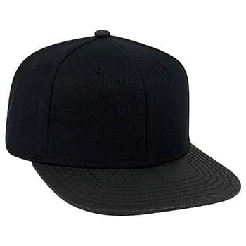 OTTO Wool Blend Twill w/ Faux Leather Square Flat Visor Six Panel Pro Style Baseball Cap