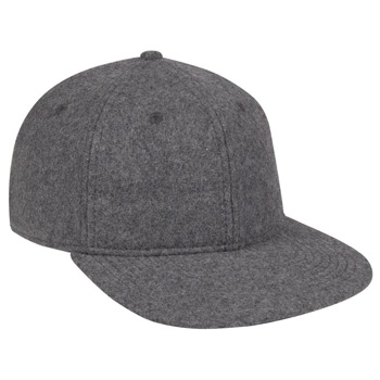 OTTO Melton Wool Blend Twill Square Flat Visor Six Panel Pro Style Baseball Cap