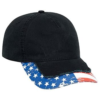 OTTO United States Flag Design Garment Washed Superior Cotton Twill w/ Heavy Stitching Distressed Visor Five Panel Low P