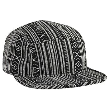 Otto Aztec Pattern Cotton Jacquard Square Flat Visor With Binding Trim Five Panel Camper Style Caps