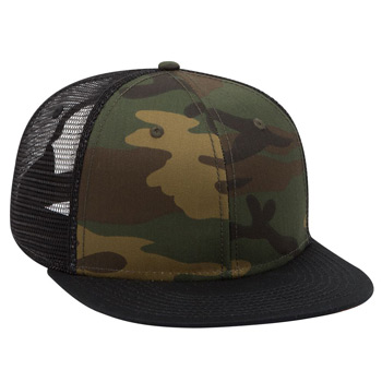 Otto Camouflage Cotton Twill Flat Visor Pro Style Mesh Back Caps