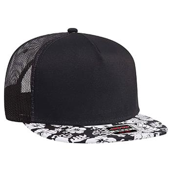 Otto Superior Cotton Twill Hawaiian Pattern Flat Visor Pro Style Mesh Back Snapback Caps