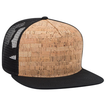 "OTTO Cork Square Flat Visor OTTO SNAP"" Five Panel Pro Style Mesh Back Trucker Snapback Hat"""