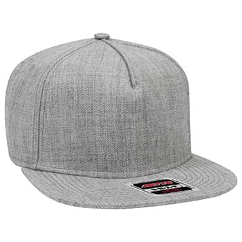 "OTTO Heather Wool Blend Twill Square Flat Visor OTTO SNAP"" Five Panel Pro Style Snapback Hat"""