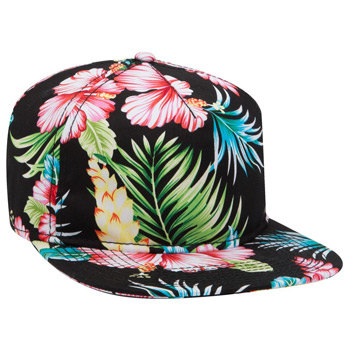 "OTTO Hawaiian Pattern Cotton Twill Square Flat Visor OTTO SNAP"" Five Panel Pro Style Snapback Hat"""