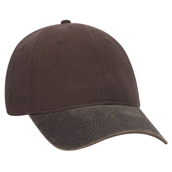 OTTO Cotton Canvas Garment Washed PU Coated Cotton Blend Visor 6 Panel Low Profile Baseball Cap