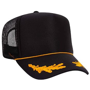 Otto Polyester Foam Front Oak Leaves High Crown Golf Style Mesh Back Caps