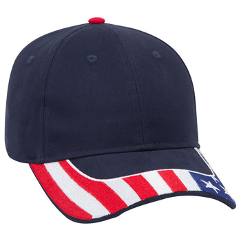 Otto United States Flag Visor Brushed Cotton Twill Low Profile Style Caps