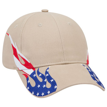 OTTO United States Flag Flame Pattern Brushed Cotton Twill Six Panel Low Profile Baseball Cap