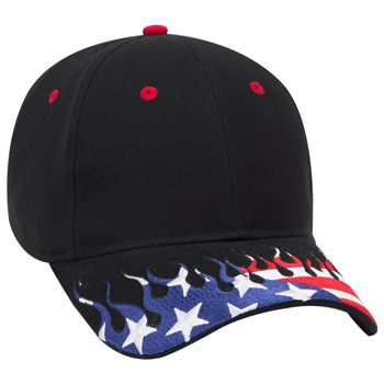 Otto United States Flag Flame Pattern Visor Brushed Cotton Twill Low Profile Style Caps
