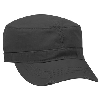 OTTO Garment Washed Superior Cotton Twill Distressed Visor Military Cap