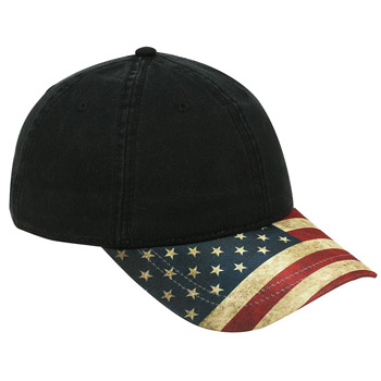 OTTO United States Flag Design Visor Cotton Twill Six Panel Low Profile Baseball Cap