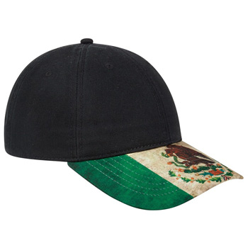 OTTO Mexico Flag Design Visor Cotton Twill Six Panel Low Profile Baseball Cap