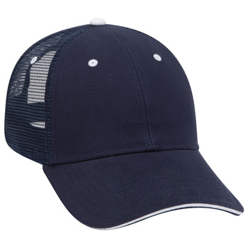 Otto Brushed Bull Denim Sandwich Visor Low Profile Style Mesh Back Caps