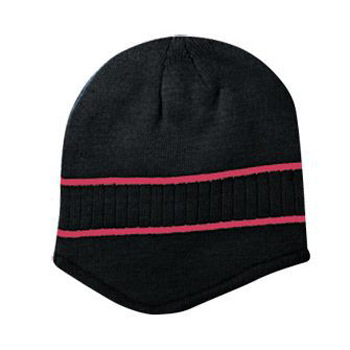 Otto Acrylic Knit Beanie With Stripes