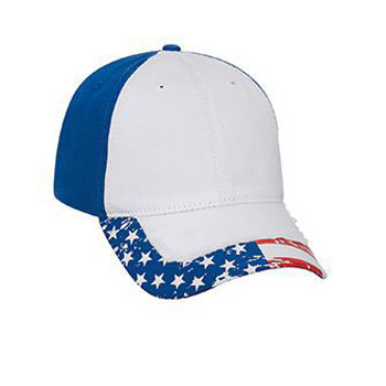 OTTO United States Flag Design Garment Washed Superior Cotton Twill Distressed Visor Six Panel Low Profile Baseball Cap