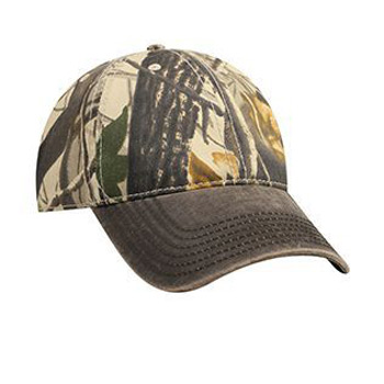 Otto Camouflage Garment Washed Cotton Twill Heavy Washed Wax Coated Visor Low Profile Style Caps
