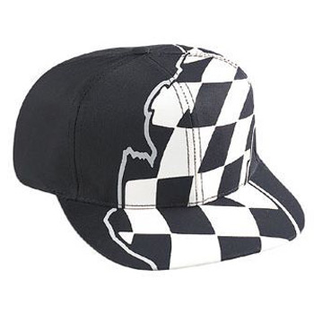 Otto Racing Flag Pattern Cotton Twill Pro Style Caps