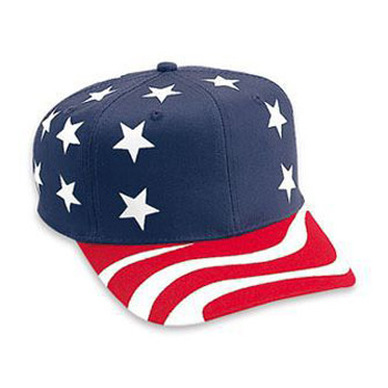 Otto United States Flag Pattern Cotton Twill Pro Style Caps