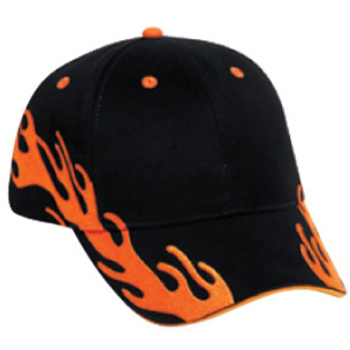 Otto Flame Pattern Brushed Cotton Twill Sandwich Visor Low Profile Style Caps