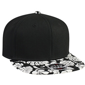 Otto Superior Cotton Twill With Hawaiian Pattern Flat Visor Pro Style Snapback Caps