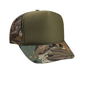 Otto Polyester Foam Front Camouflage Visor High Crown Golf Style Mesh Back Caps