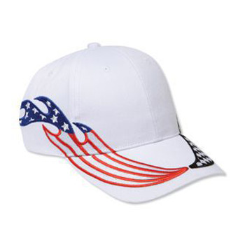 Otto United States Flag Racing Flame Pattern Brushed Cotton Twill Low Profile Style Caps