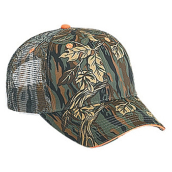 Otto Camouflage Cotton Twill Sandwich Visor Low Profile Style Mesh Back Caps
