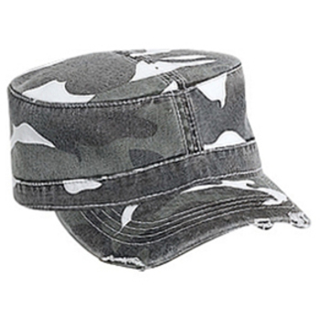 Otto Camouflage Superior Garment Washed Cotton Twill Distressed Visor Military Style Caps
