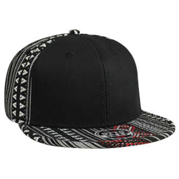Otto Aztec Pattern Cotton Jacquard Flat Visor With Binding Trim Pro Style Snapback Caps