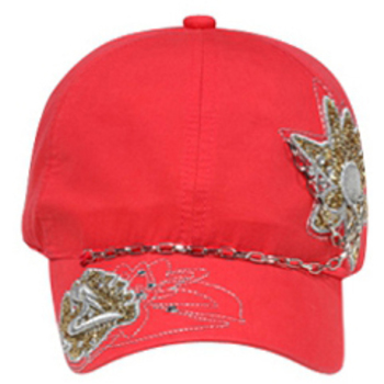Otto Glitter Metallic Embroidered Design With Rhinestones & Chain Caps