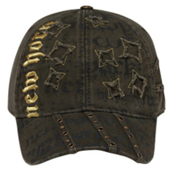 Otto Metallic New York Distressed Star Patch Caps