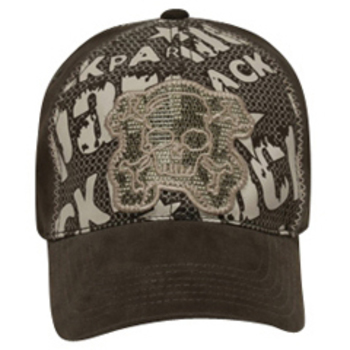 Otto Lackpard Flex Skull Mesh Embroidered Design Caps