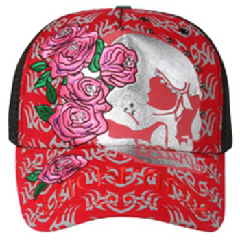 Otto Metallic Skull Embroidered Roses Mesh Back Caps