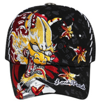 Otto Dragon & Rhinestone Design Mesh Back Caps