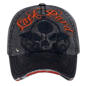 Otto Lackpard Skull Design New York Distressed Visor Caps