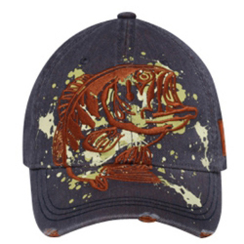 Otto Embroidered Bass On Denim Material Distressed Visor Caps