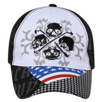 Otto 4 Skulls Flag Design Mesh Back Caps
